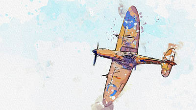 Rowing - Spitfire in watercolor ca by Ahmet Asar by Celestial Images