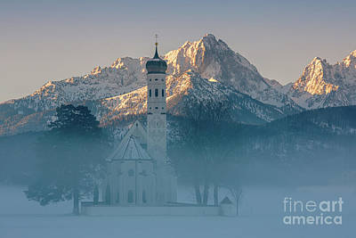 World War Two Production Posters - St. Coloman Church in Winter 1 by Henk Meijer Photography