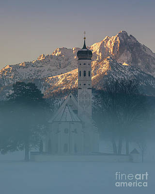 World War Two Production Posters - St. Coloman Church in Winter 2 by Henk Meijer Photography
