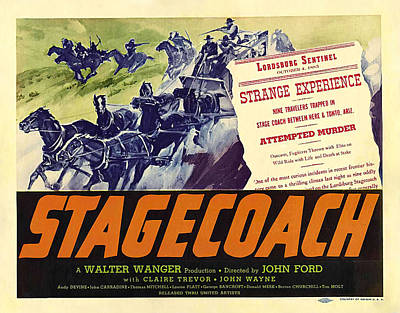 Typography Tees - Stagecoach, with John Wayne, 1939 by Stars on Art