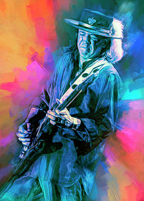 Mixed Media Royalty Free Images - Stevie Ray Live Royalty-Free Image by Mal Bray