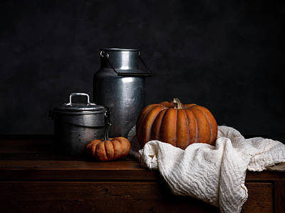 Still Life Royalty-Free and Rights-Managed Images - Still Life with Pumpkin by Nailia Schwarz
