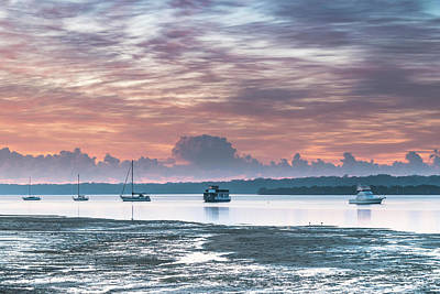 School Tote Bags Royalty Free Images - Sunrise Waterscape with High Cloud and Boats Royalty-Free Image by Merrillie Redden