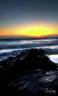 Jerry Sodorff Royalty-Free and Rights-Managed Images - Sunset Waves 17856 by Jerry Sodorff