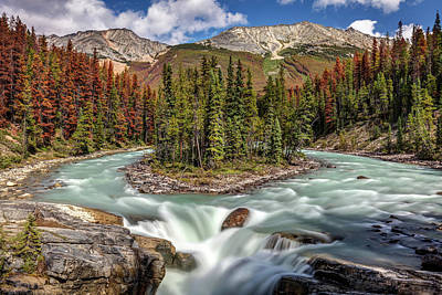 Uncle Sam Posters Rights Managed Images - Sunwapta falls in Jasper National Park Royalty-Free Image by Pierre Leclerc Photography