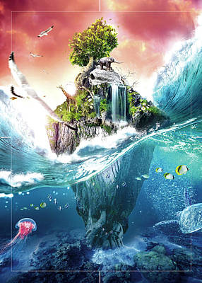Surrealism Royalty-Free and Rights-Managed Images - Surreal Island in the Pacific Poster by Celestial Images