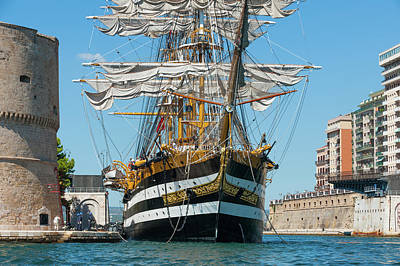 Photograph - Tall ship Amerigo Vespucci - Italian Navy- Aragonese Castle - Taranto by Flavio Massari