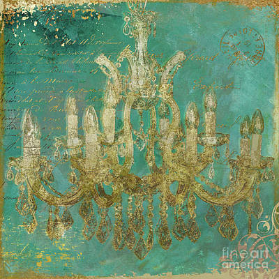 Painting - Teal and Gold Chandelier by Mindy Sommers