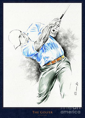 Mixed Media - The Golfer - White - Poster by Olivera Cejovic