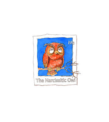 Drawings Royalty Free Images - The Narcissistic Owl Royalty-Free Image by Shawn Vincelette