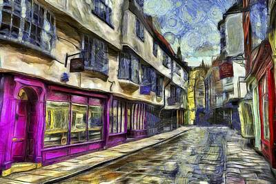 Comic Character Paintings - The Shambles York Van Gogh by David Pyatt