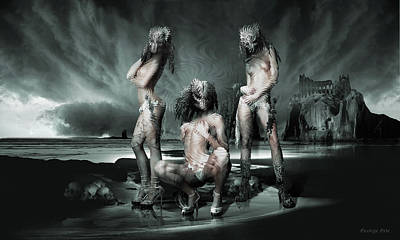 Surrealism Digital Art - The Three Graces Remake Gods and Heroes by George Grie
