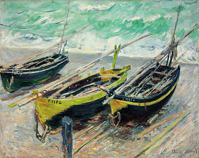 Rights Managed Images - Three Fishing Boats Royalty-Free Image by Oscar-Claude Monet
