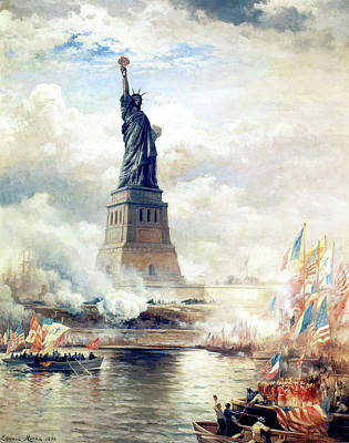 Queen Rights Managed Images - Unveiling the Statue of Liberty Royalty-Free Image by Edward Moran