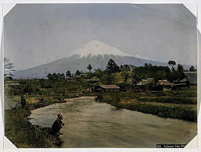 Coy Fish Michael Creese Paintings - View of Mount Fuji from Omiya village, Kusakabe Kimbei  by Artistic Rifki