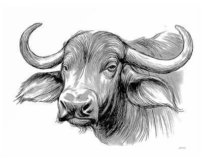 Mixed Media Royalty Free Images - Water Buffalo Royalty-Free Image by Greg Joens