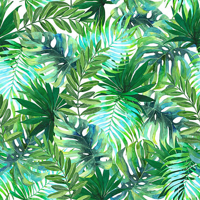 Royalty-Free and Rights-Managed Images - Watercolor tropical leaves pattern by Julien