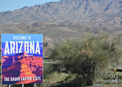 Landscapes Royalty-Free and Rights-Managed Images - Welcome to Arizona Sign. At the boarder of Nevada. Bullhead, Mohave County, Arizona USA by Norm Lane