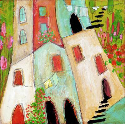 Mixed Media - Whimsical Town by Stanka Vukelic