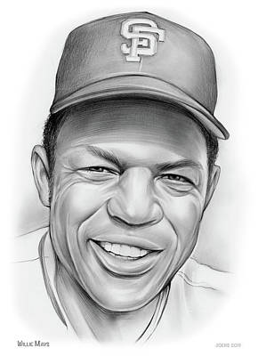 Sports Drawings - Willie Mays by Greg Joens
