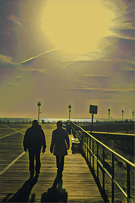 Surrealism Royalty-Free and Rights-Managed Images - Winter Stroll on the Boardwalk by Surreal Jersey Shore