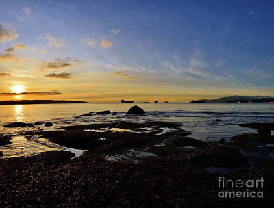 World War 2 Action Photography - Winter Sunset At English Bay by Terry Elniski