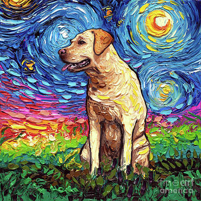 Painting - Yellow Labrador Night by Aja Trier