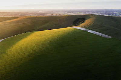 Katharine Hepburn - Stunning high flying drone landscape image of rolling hills in E by Matthew Gibson