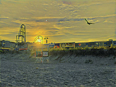 Surrealism Royalty-Free and Rights-Managed Images - 10th Street Beach at Sunset by Surreal Jersey Shore