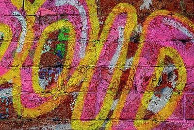 Mellow Yellow - Detail of Graffitied Wall by Robert Ullmann