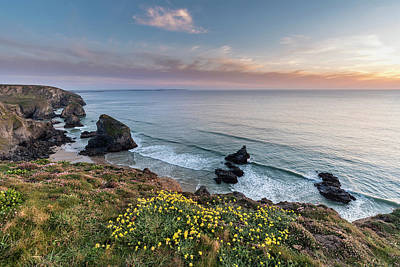 Farmhouse Royalty Free Images - Beautiful landscape image during Spring golden hour on Cornwall  Royalty-Free Image by Matthew Gibson