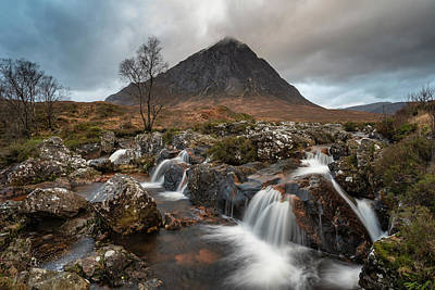 Wild Horse Paintings - Epic landscape image of Buachaille Etive Mor waterfall in Scotti by Matthew Gibson