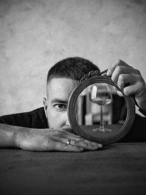 Lucille Ball - 1493 Man Holding Round Mirror by Bahar Asar