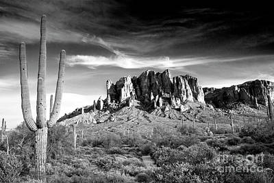 Comic Character Paintings - 1582 Superstition Mountains Black and White by Steve Sturgill