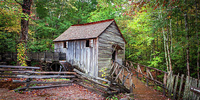 Palm Trees Rights Managed Images - 1685 Smoky Mountain Grist Mill Royalty-Free Image by Steve Sturgill
