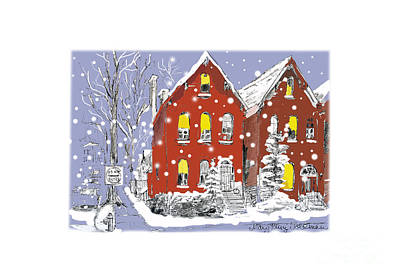 Drawing - 1800s Brick Houses in the Snow - Allen Street, Buffalo NY by Mary Kunz Goldman