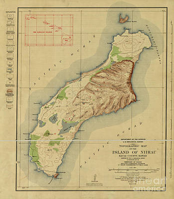 Firefighter Patents - 1929 Topographic map of the Island of Niihau, Kauai County, Hawaii by JL Images