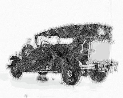 Kitchen Mark Rogan - 1930 Citroen AC 4 Torpedo Commercial 2 Classic Cars - Etching Poster by Celestial Images