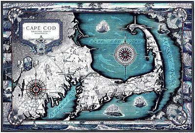 Drawing - 1931 Cape Cod Map, Barnstable County, Massachusetts by Ashburton Tripp by Ashburton Tripp