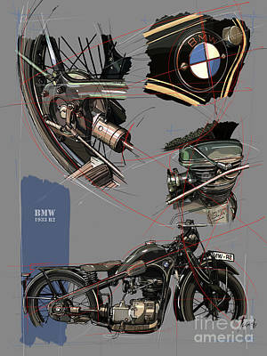 Royalty-Free and Rights-Managed Images - 1933 BMW R2 Original Artwork. Great Gift for Bikers. by Drawspots Illustrations
