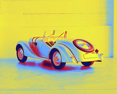 Lady Bug - 1937 BMW 328 2  - Neon Colored by Celestial Images