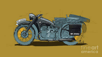 Royalty-Free and Rights-Managed Images - 1939 BMW R12 Original Drawing by Drawspots Illustrations