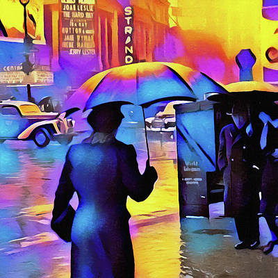 Surrealism Digital Art Rights Managed Images - 1940s Times Square Rain IIl Royalty-Free Image by Susan Maxwell Schmidt