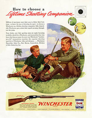 Farm Life Paintings Rob Moline - 1946 Winchester Model 61 Ad by Ron Long