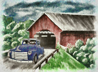 Israeli Flag - 1952 Chevy Truck and the Old Covered Bridge Artistic 1  by Linda Brody