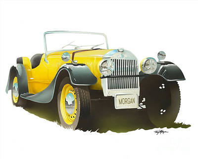 Painting - 1953 yellow Morgan roadster by Tony W Morgan