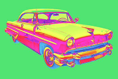Royalty-Free and Rights-Managed Images - 1955 Lincoln Capri Luxury Car Pop Art by Keith Webber Jr