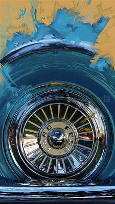 Farm Life Paintings Rob Moline Royalty Free Images - 1956 Ford Thunderbird Spare Wheel Painting Royalty-Free Image by Garth Glazier