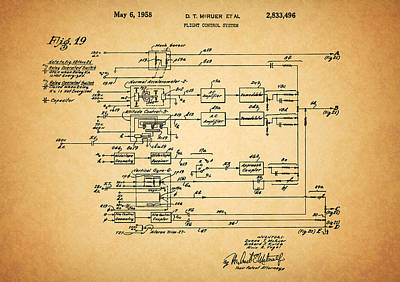 Drawings Royalty Free Images - 1958 Flight Controls Patent Royalty-Free Image by Dan Sproul