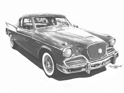 Drawings Royalty Free Images - 1958 Studebaker Golden Hawk Ink BW Royalty-Free Image by Gary F Richards